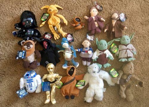 Mixed Star Wars Buddies Plush R2-D2, Wicket Darth Maul Wampa Yoda Episode 1 Lot