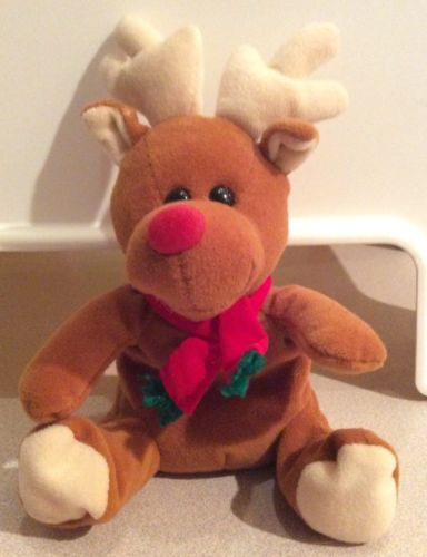 Christmas Gift Holiday Stuffed Plush Toy Ho Ho Beans Sears Roebuck Reindeer Sits