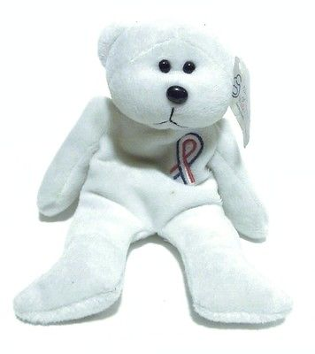 Plushland March of Dimes - Ty Style White Bear with Ribbon - 7