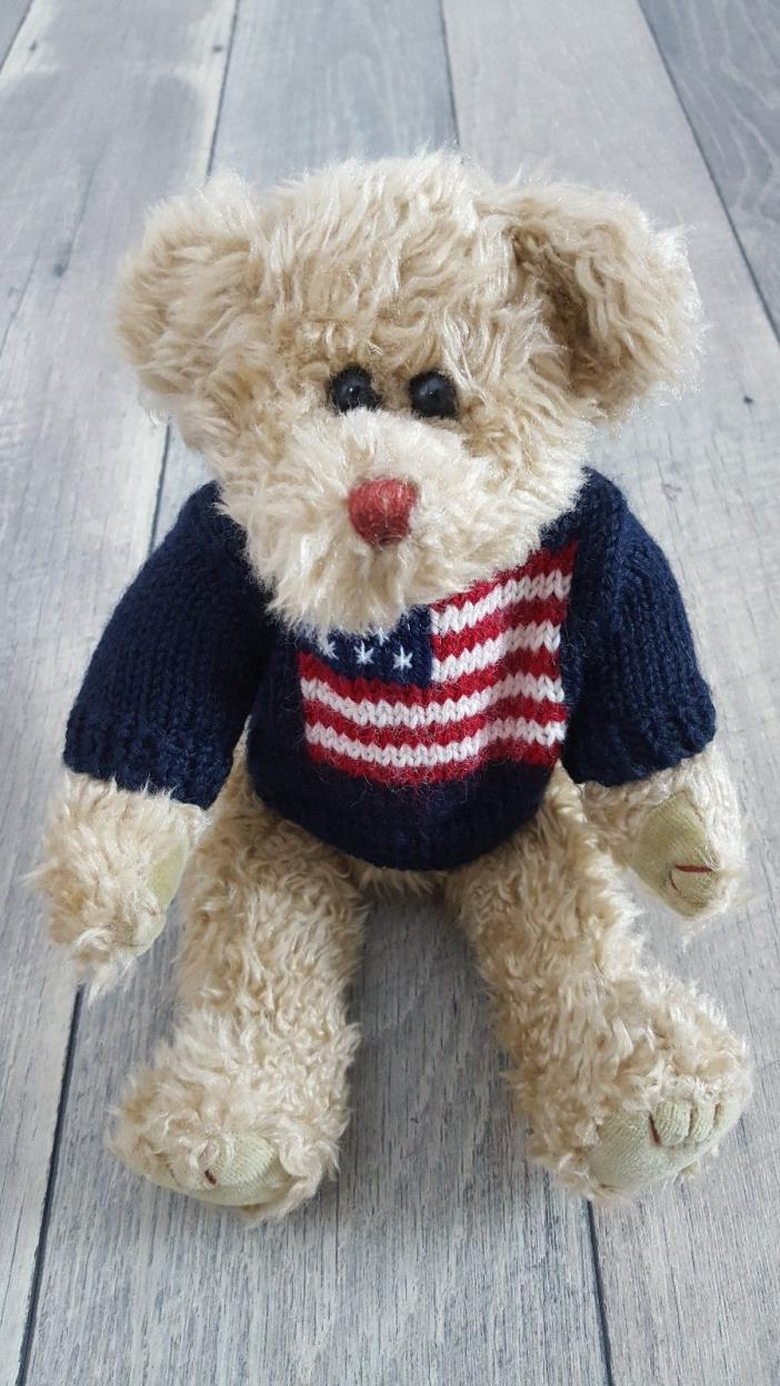 1993 TY Attic Treasure Patriotic Red White & Blue Flag Sweater Teddy Bear