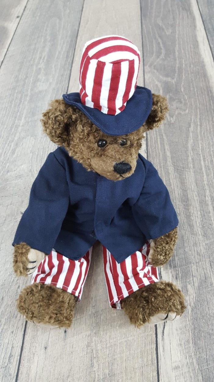 1993 TY Attic Treasure Uncle Sam Patriotic Red White & Blue Teddy Bear