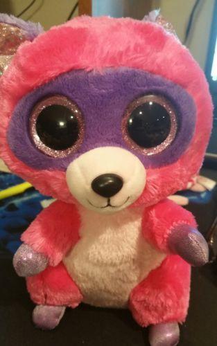 Ty Beanie Boos Roxie The Pink/Purple Raccoon Plush 9in