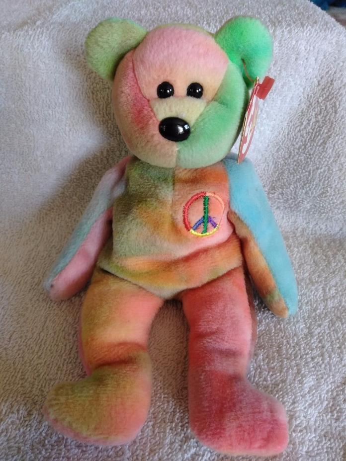 Peace Ty Dye Bear Beanie Baby Style 4053