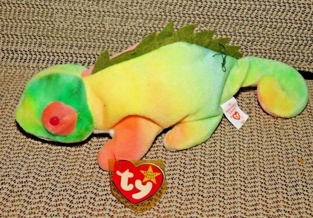 Ty Beanie Baby : Retired 'Iggy' the Rainbow Iguana 1997 : Several Errors !