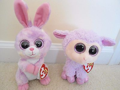 Ty Avril & Orchid Easter Bunny/Lamb Boo Set.2016 EXCLUSIVES,NEW/VERY CUTE,TP'd!