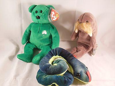 LOT OF 3-BEANIE BABIES-ERIN THE BEAR, HISSY THE SNAKE, & JOLLY THE WALRUS