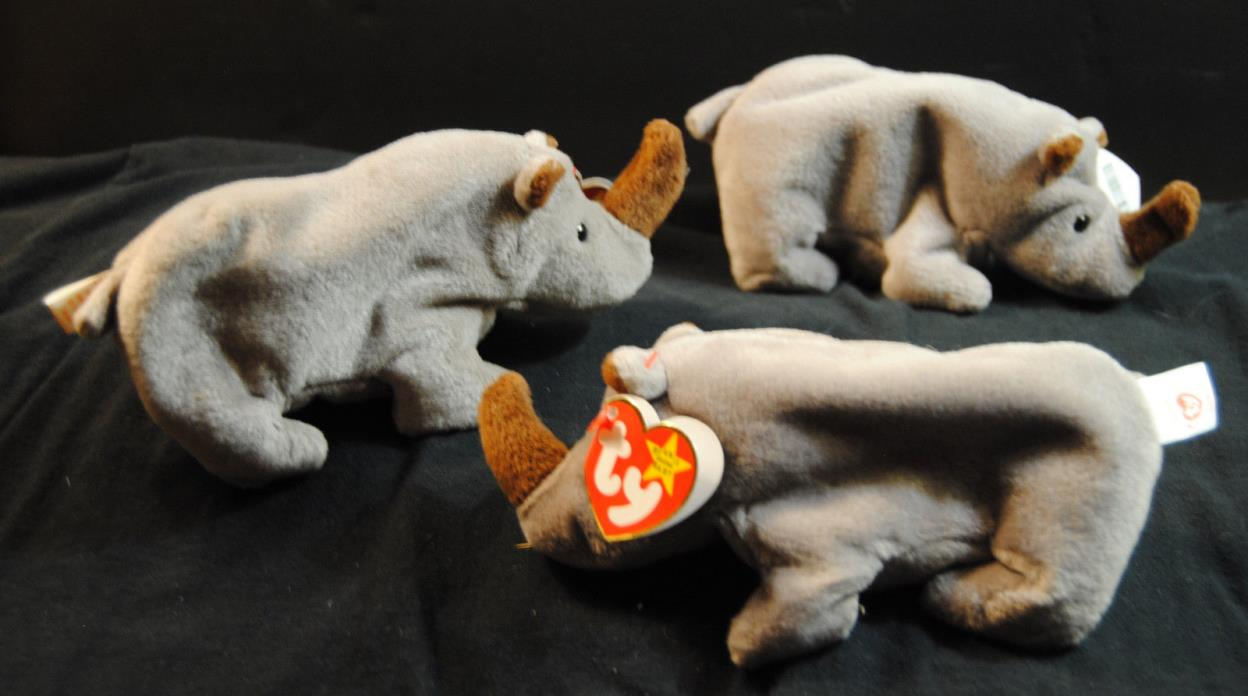 Beanie Babies 1996 Spike the Rhino Lot of 3