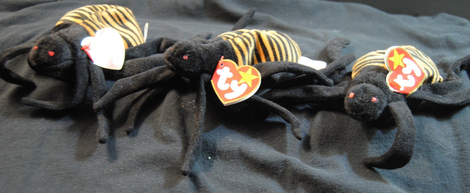 Beanie Babies 1996 Spinner the Spider Lot of 3