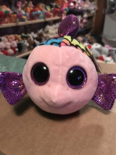 Ty FLIPPY -Rainbow/Purple Shiny Plush Fish Beanie Boo!