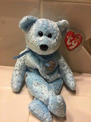 Ty Beanie Baby Decade light baby blue sparkly (2002)teddy  Bear)