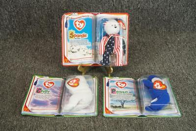 Set Of 3 Beanie Babies In Packages Peanut, Chilly, Spangle