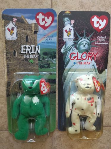 Set of 2 Ty Beanie Babies Bears Erin and Glory introduced 1998 McDonalds retired