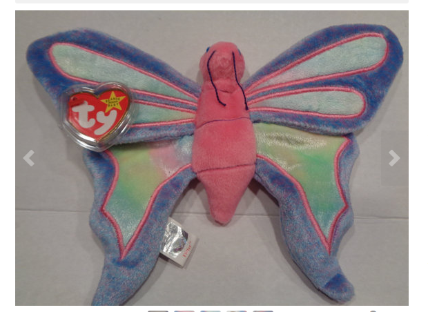 Ty Beanie Baby FLITTER Plush Blue Pink and White Butterfly Original collectable