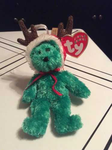 TY 2002 HOLIDAY TEDDY GREEN BEAR JINGLE BEANIE BABY ORNAMENT GIFT FREE SHIPPING