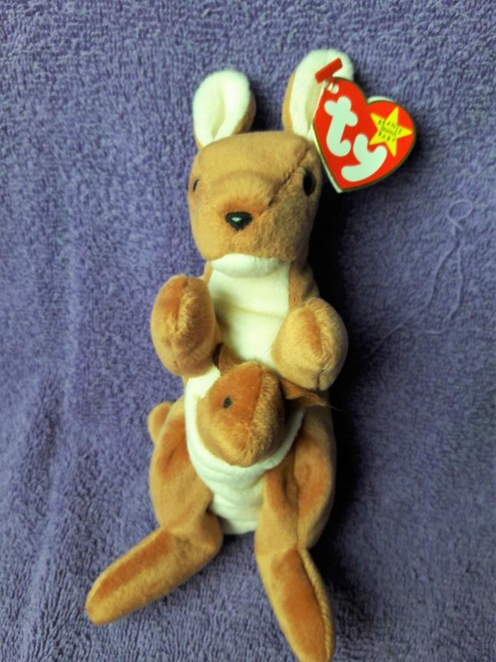 TY BEANIE BUDDY POUCH THE KANGAROO WITH ABABY BUDDY NEW  B814