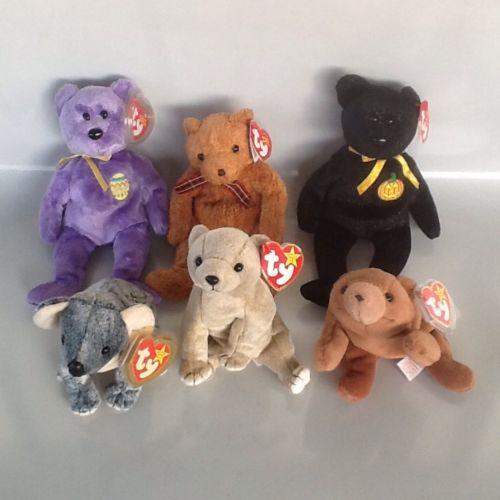 Ty Beanie Babies Lot Of 6 Bears Cubbie Eggs III Almond Haunt Woody Eucalyptus