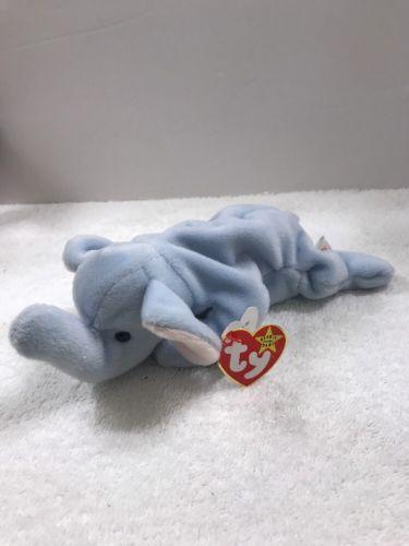 Ty Beanie Baby Peanut - MWMT (Elephant light Blue Damaged Tag (4a)