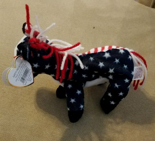Ty Beanie Baby Lefty 2000 Stars And Stripes Election Plush