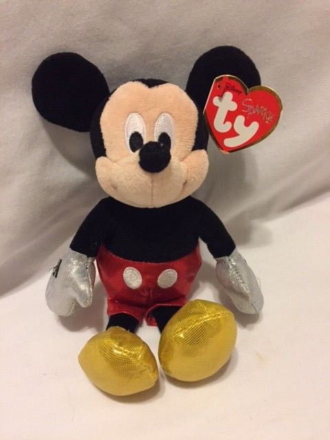 DisneyTy Beanie Babies Collection Sparkle Mickey Mouse Glitter Plush Toy 8