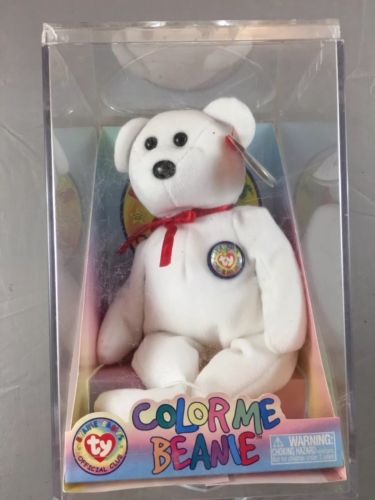 Ty Beanie Baby Color Me Beanie 2002 Complete In Case Red Bow