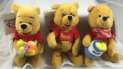 Disney Bean Bag Lot with Pooh, Flower Pooh and Picnic Pooh NWT