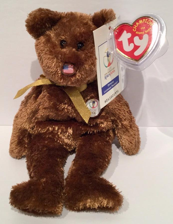 TY Beanie Baby Babies Retired 2002 FIFA World Cup Champion Bear NWT