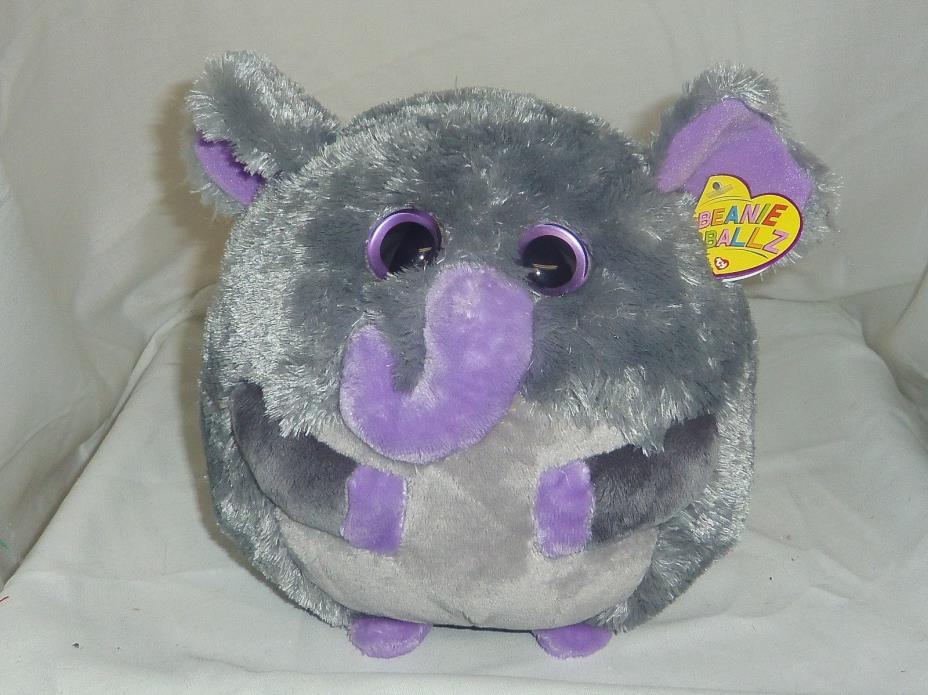 Thunder TY Beanie Ballz medium 8in grey plush Elephant ball 3 up 38525