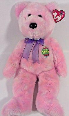 Ty Beanie Buddies Buddy EGGS Pink Teddy Bear Stuffed Animal Plush Bean Bag Toy