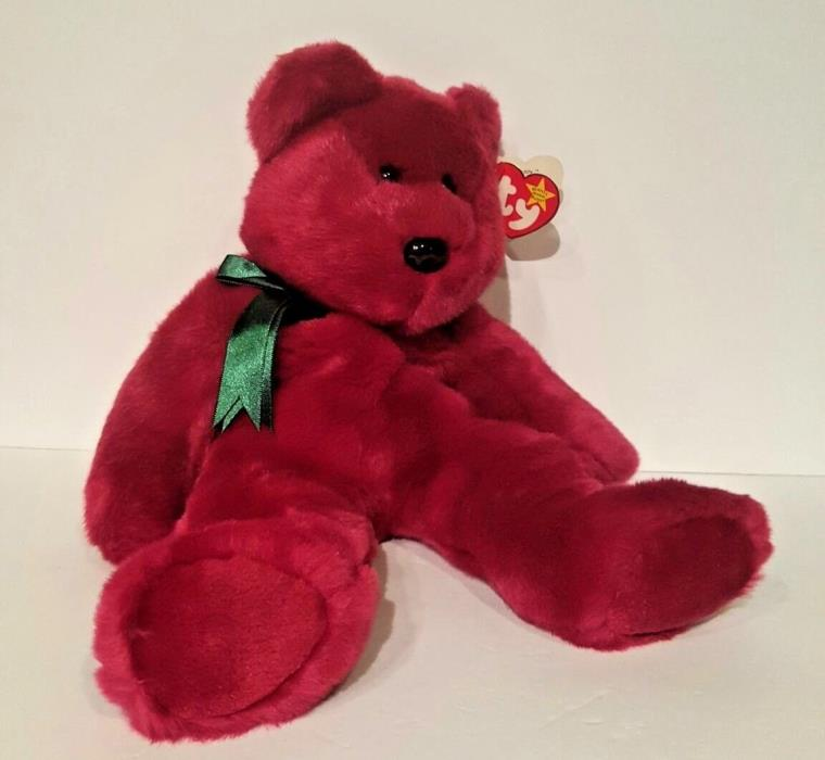 TY 1998 Beanie Buddy Cranberry red Teddy w/ Green Bow Stuffed Animal Plush Doll