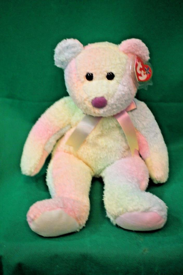 Ty Large Plush Beanie Buddy Groovy the Ty Dyed Bear Ear Tags With Cover