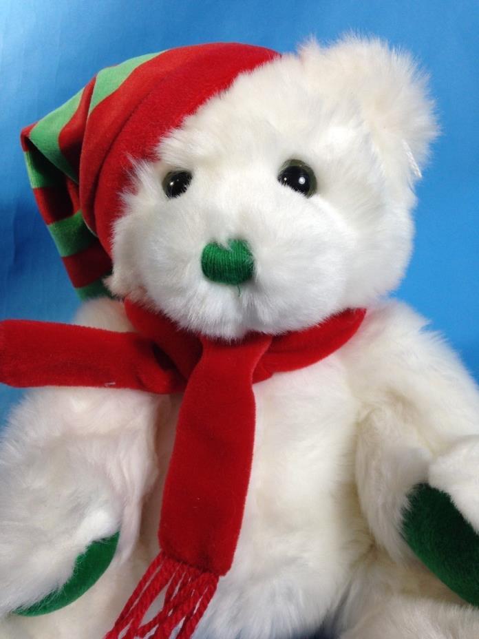 Ty Classic White Teddy Bear MERRY Stuffed Animal Classic Plush Beanie 2004 - 12