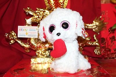 TY BEANIE BOOS HONEY BUN THE VALENTINE DOG MEDIUM BUDDY.9