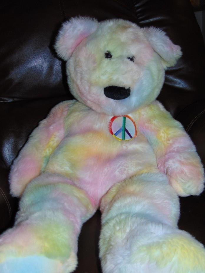 TY Jumbo Peace Bear Beanie Baby Buddy Large Plush 28