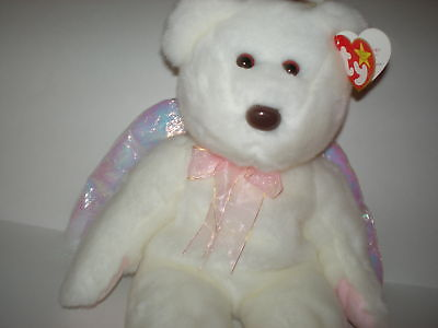 New MWMT Rare TY Beanie Buddy Halo Bear Iridescent Wings Pristine White
