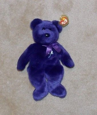 Ty Beanie Buddies Buddy Princess Diana Bear Plush Stuffed Teddy Purple 14