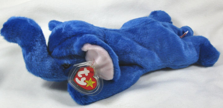 Ty Peanut Royal Blue Plush Elephant Beanie Buddies 1998 Rare & Hard To Find