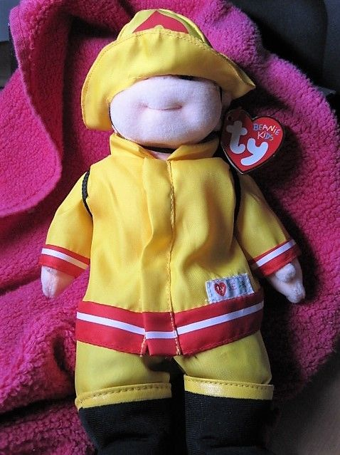 Ty Beanie Kids Chipper with Fireman Firefighter Outfit 1998