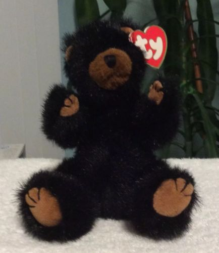 "TY Attic Treasures Collection Beanie Babies Black Bear Ivan ""Grin And Bear It"""