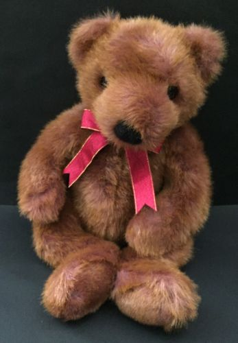 Ty Taffybeary Teddy Bear Plush Stuffed Animal Reddish Brown Fur Red Ribbon 1999