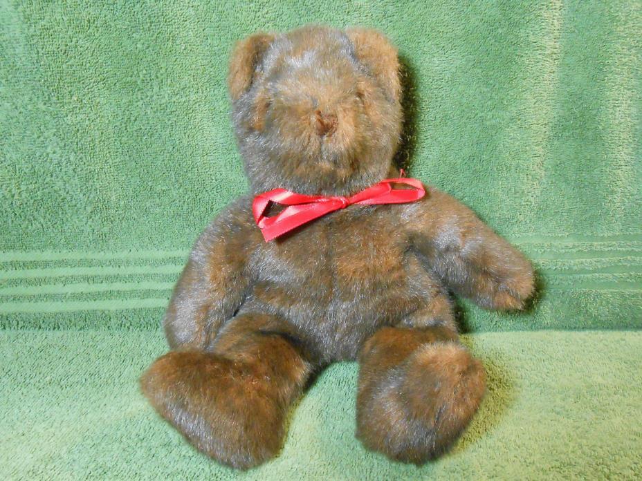 Ty Classic 1992 Multi Dk Brown Furry Red Ribbon Bear Rare-Retired ? 12