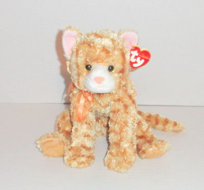 TY Beanie Classic Apricot Plush Orange Tan Tabby Cat Kitty 2004 w/ Tag P23