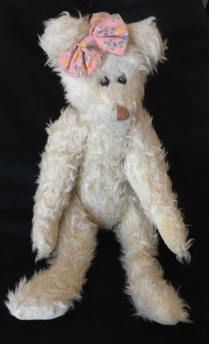 TY White FUZZY Girl TEDDY BEAR Plush STUFFED ANIMAL Vintage 1993 Movable A/L 11