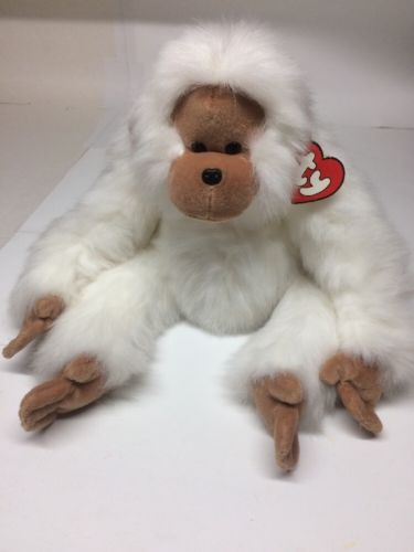 TY Mango Plush Huggable White Orangutan Monkey 20