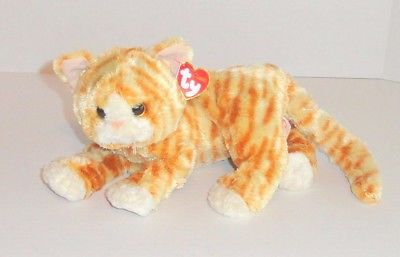 TY Beanie Classic Cobbler Cat Plush Tabby Tan Orange Striped 2014 NICE! P32
