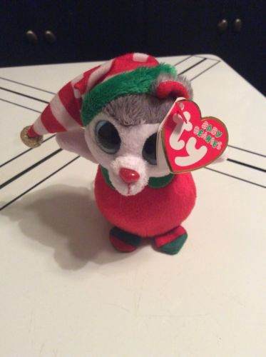 """TY Baby Beanie - JUNEAU the Husky Dog Walgreens Exclusive 4"""" Holiday Christmas"""