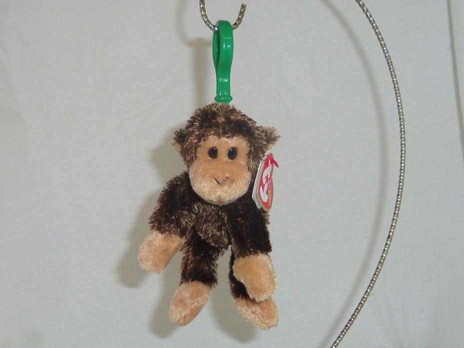 Swinger plush monkey TY Beanie Babie 5in plastic keyclip backpack charm 40676