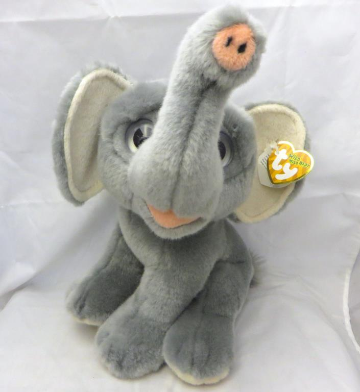 Ty Classic Gray Africa Elephant 2011 Big Eyes Bean Boos Plush Stuffed Toy medium