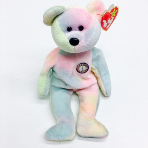 Beanie Babies TY B.B. Bear Birthday Bear Pastel Happy Birthday