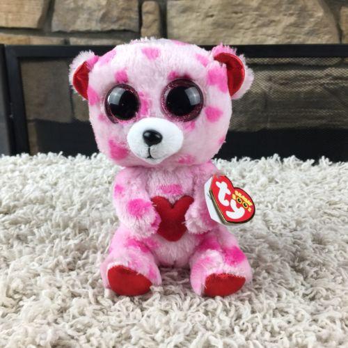 NEW Ty Beanie Boos Sweetkins Heart Print Bear 6