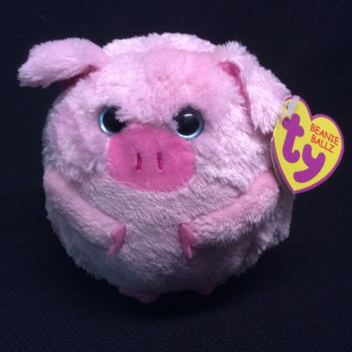 Ty Beanie Ballz Beans the Pig plush round toy great condition